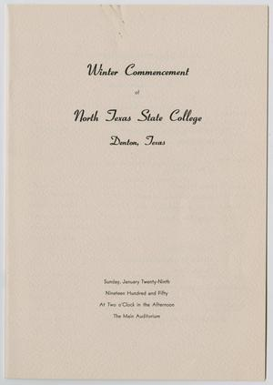 Primary view of object titled '[Commencement Program for North Texas State College, January 29, 1950]'.