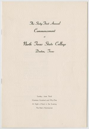 Primary view of object titled '[Commencement Program for North Texas State College, June 3, 1951]'.