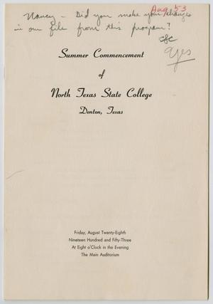Primary view of object titled '[Commencement Program for North Texas State College, August 28, 1953]'.