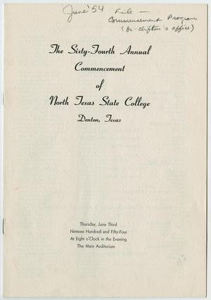 Primary view of object titled '[Commencement Program for North Texas State College, June 3, 1954]'.