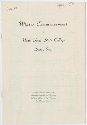 Primary view of object titled '[Commencement Program for North Texas State College, January 31, 1954]'.