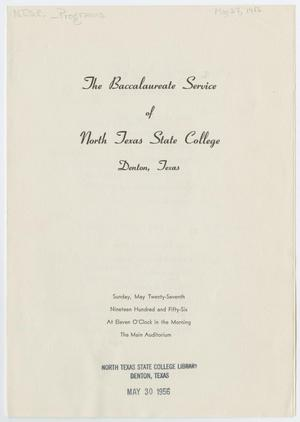 Primary view of object titled '[Commencement Program for North Texas State College, May 27, 1956]'.