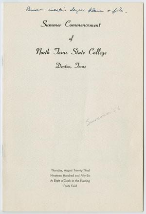 Primary view of object titled '[Commencement Program for North Texas State College, August 23, 1956]'.