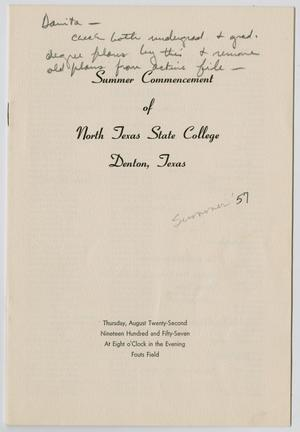 Primary view of object titled '[Commencement Program for North Texas State College, August 22, 1957]'.