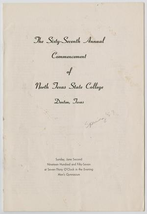 Primary view of object titled '[Commencement Program for North Texas State College, June 2, 1957]'.