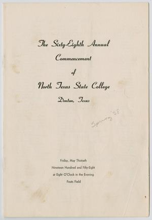 Primary view of object titled '[Commencement Program for North Texas State College, May 30, 1958]'.