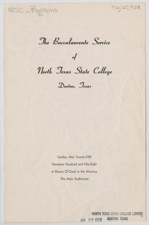Primary view of object titled '[Commencement Program for North Texas State College, May 25, 1958]'.