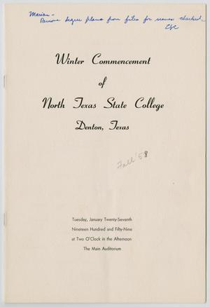 Primary view of object titled '[Commencement Program for North Texas State College, January 27, 1959]'.