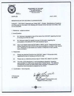 Primary view of object titled 'Miscellaneous questions for the Department of Defense Clearinghouse'.