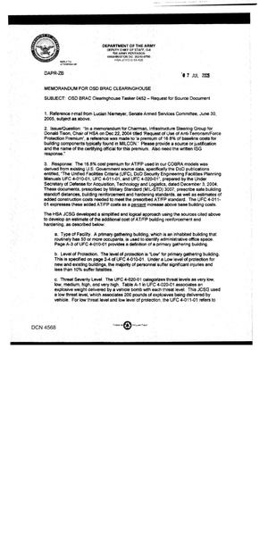Primary view of object titled 'Request to the Department of Defense Clearinghouse for a Source Document'.