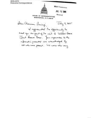 Primary view of object titled 'Executive Correspondence – Courtesy cards dtd 07/09/05 to Chairman Principi, Commissioner Newton, Commissioner Bilbray, and Commissioner Coyle'.