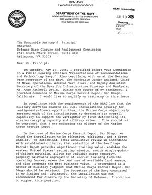 Primary view of object titled 'Executive Correspondence – Letter dtd 06/30/05 to Chairman Principi from USMC Commandant General M.W. Hagee'.