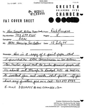 Primary view of object titled 'Coalition Correspondence – Fax dtd 07/12/05 to R&A Air Force Team Leader Ken Small from the Greater Oklahoma City Chamber'.