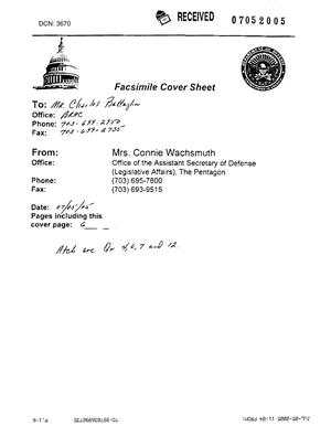 Primary view of object titled 'Fax dtd 07/05/05 to Charlie Battaglia from Mrs. Connie Wachsmuth of OASD(LA)'.