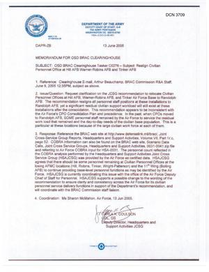 Primary view of object titled 'JCSG recommendation to relocate Civnian Personnel Offices at Hill AFB, Warner-Robins AFB, and Tinker Air Force Base to Randolph (13Jun05)'.