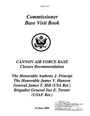 Primary view of object titled 'Base Visit Book from BRAC Commission Visit to Cannon Air Force Base, NM dtd 23 Jun 2005'.
