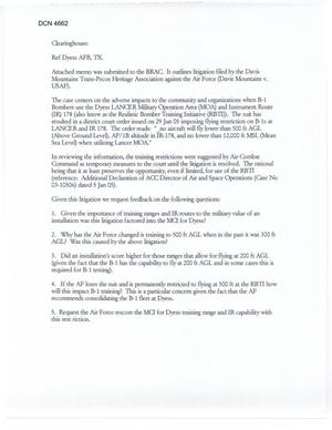 Primary view of object titled 'Litigation filed by the Davis Mountains Trans-Pecos Heritage Association against the Air Force (Davis Mountains v. USAF)'.