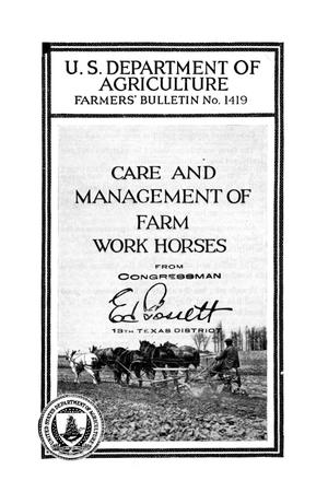 Primary view of object titled 'Care and management of farm work horses.'.