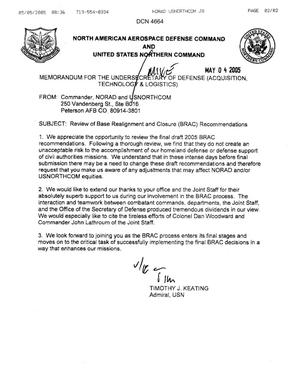 Primary view of object titled 'Memo from ADM Keating (Commander USNORTHCOM & NORAD) to USD(AT&L) dtd 4 May 05'.