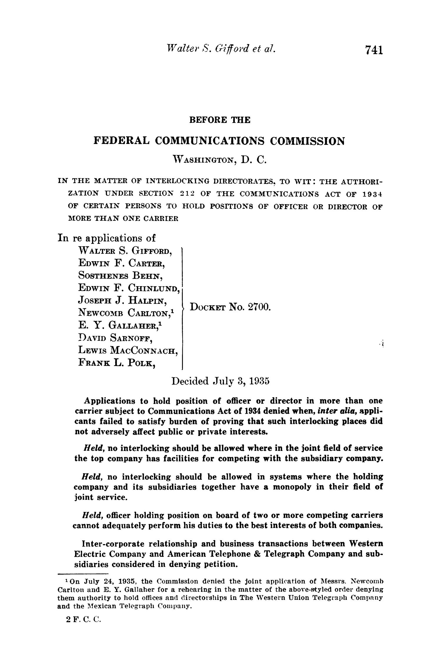 FCC Reports, Volume 2, July 1, 1935 to June 30, 1936 - Page 741