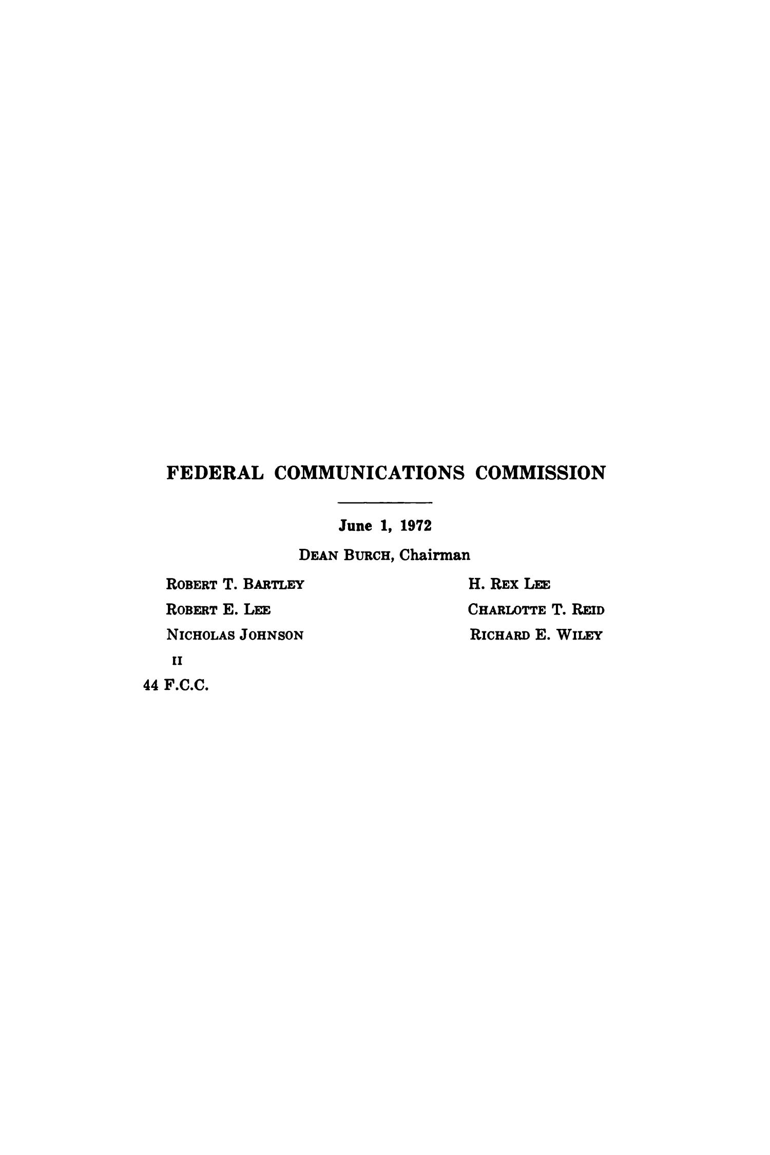 FCC Reports, Volume 44, Part 1, October 13, 1954 to April 14, 1959                                                                                                      II