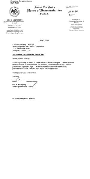 Primary view of object titled 'Executive Correspondence –  Letter dtd to Chairman Principi from NM State Representative Eric Youngberg'.