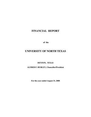 Primary view of object titled 'Financial Report of the University of North Texas: For the year ended August 31, 2000'.