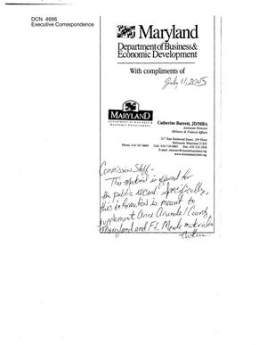Primary view of object titled 'Executive Correspondence – Letter dtd 07/11/05 to all Commissioners from Catherine Barrett of the Department of Business & Development Maryland'.