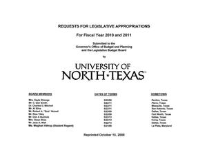 Primary view of object titled 'University of North Texas Requests for Legislative Appropriations For Fiscal Years 2010 and 2011'.