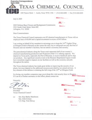 Primary view of object titled 'Executive Correspondence – Letter dtd 07/08/05 to all Commissioners from Ron Dipprey President of the Texas Chemical Council'.
