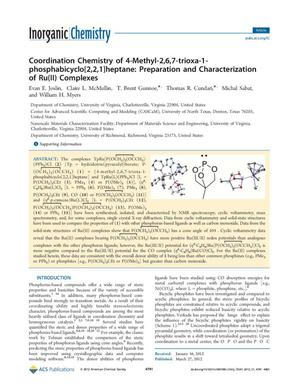 Primary view of object titled 'Coordination Chemistry of 4-Methyl-2,6,7-trioxa-1-phosphabicyclo[2,2,1]heptane: Preparation and Characterization of Ru(II) Complexes'.