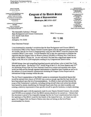 Primary view of object titled 'Executive Correspondence – Letter dtd 07/15/05 to Chairman Principi from Rep Brian Higgins (27th NY)'.