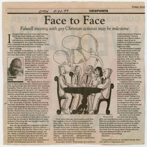 "Primary view of object titled '[Clipping: ""Face to face: Falwell meeting with gay Christian activists may be milestone"", Dallas Morning News]'."