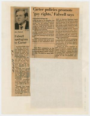 Primary view of object titled '[Clipping: Jerry Falwell's criticism of President Carter's stance on homosexuality]'.