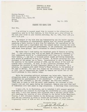 "Primary view of object titled '[Letter from Campbell B. Read to Station Manager of KVTT-FM 91.7, ""Request for Equal Time"" - May 14, 1983]'."