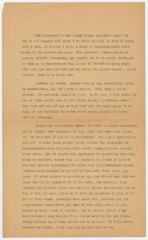 Primary view of object titled '[Speech by Sarah T. Hughes on being a female lawyer]'.