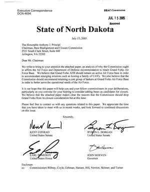 Primary view of object titled 'Executive Correspondence – Letter dtd 07/15/05 to Chairman Principi CC'd to all Commissioners from Senators Kent Conrad, Byron Dorgan, Rep Earl Pomeroy, and Gov John Hoeven of North Dakota'.