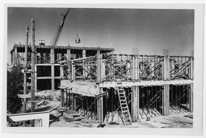 Primary view of object titled '[Crumley Hall construction at North Texas State University]'.