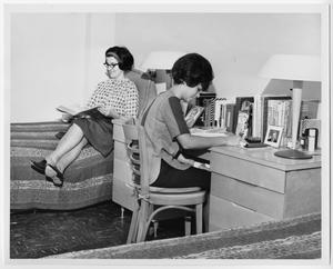 Primary view of object titled '[Female students studying in Maple Street Hall at North Texas State University]'.
