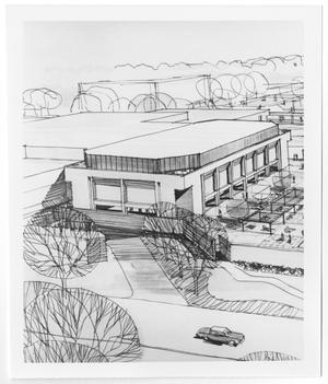 Primary view of object titled '[Architectural rendering of University Union at North Texas State University]'.