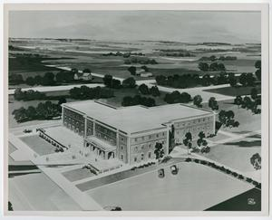 Primary view of object titled '[Architectural rendering of Student Union Building at North Texas State University]'.