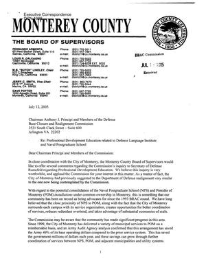 Executive Correspondence – Letter dtd 07/15/05 to all Commissioners from California's Monterey County Board of Supervisors