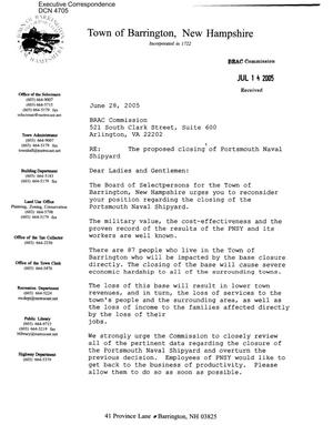 Primary view of object titled 'Executive Correspondence – Letter dtd 07/15/05 to all Commissioners from the Town of Barrington, New Hampshire'.