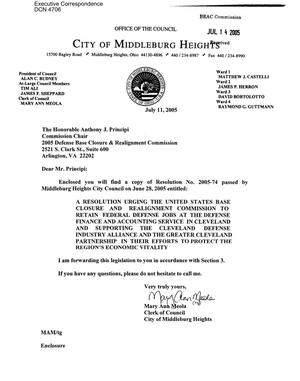 Primary view of object titled 'Executive Correspondence – Letter dtd 07/15/05 to Chairman Principi from Mary Ann Meola, City of Middleburg Heights, Ohio'.