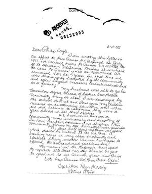 Primary view of object titled 'Community Correspondence  - Individual Letters from Cannon AFB'.