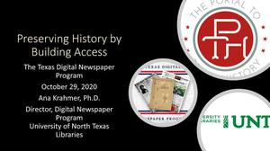 Preserving History By Building Access: The Texas Digital Newspaper Program