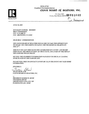 Primary view of object titled 'Coalition Correspondence – Letters dated 06/30/05 to Chairman Principi and all the Commissioners from the Clovis Board of Realtors'.