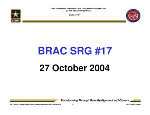 Primary view of object titled 'Army - Surge #17 - October 27, 2004- Briefing and Minutes'.