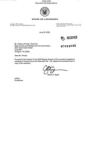 Primary view of object titled 'Executive Correspondence – Letter dtd 06/29/05 to Chairman Principi from State of LA House of Representatives Clerk Alfred Speer'.