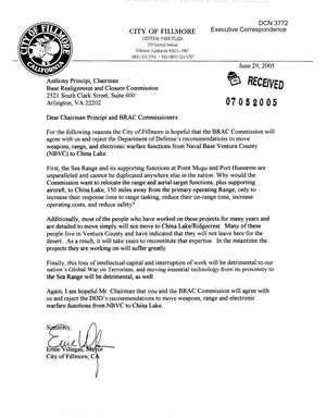Primary view of object titled 'Executive Correspondence – Letter dtd 06/29/05 to Chairman Principi from Fillmore, CA Mayor Ernie Villegas'.